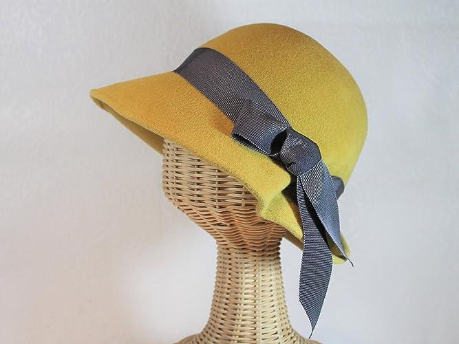 Retro Vintage Style Hats Lana Vintage Inspired Cloche Hat in Gold Velour Felt $165.00 AT vintagedancer.com