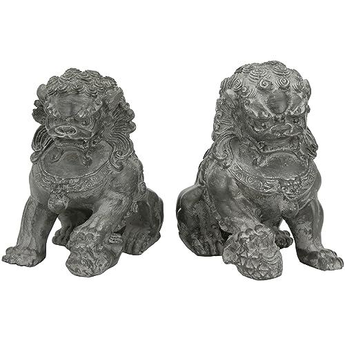 Oriental Furniture 6 Sitting Foo Dog Statues Set of Two