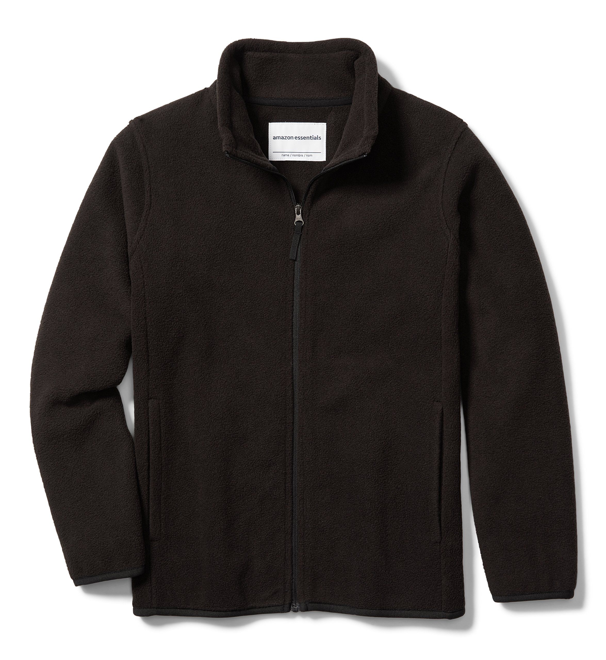 Amazon Essentials Big Boys' Full-Zip Polar Fleece Jacket, Black, Large by Amazon Essentials
