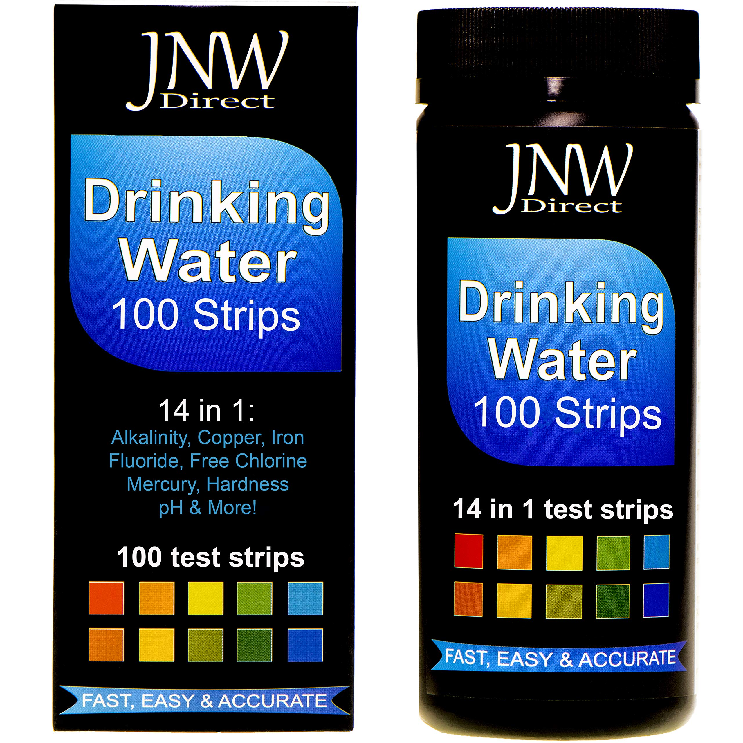 JNW Direct Drinking Water Test Strips 14 in 1, Best Kit for Accurate Water Quality Testing at Home, Ultra Low Level Sensitivity, Easy to Read & Instant Results (Packaging May Vary) by JNW Direct