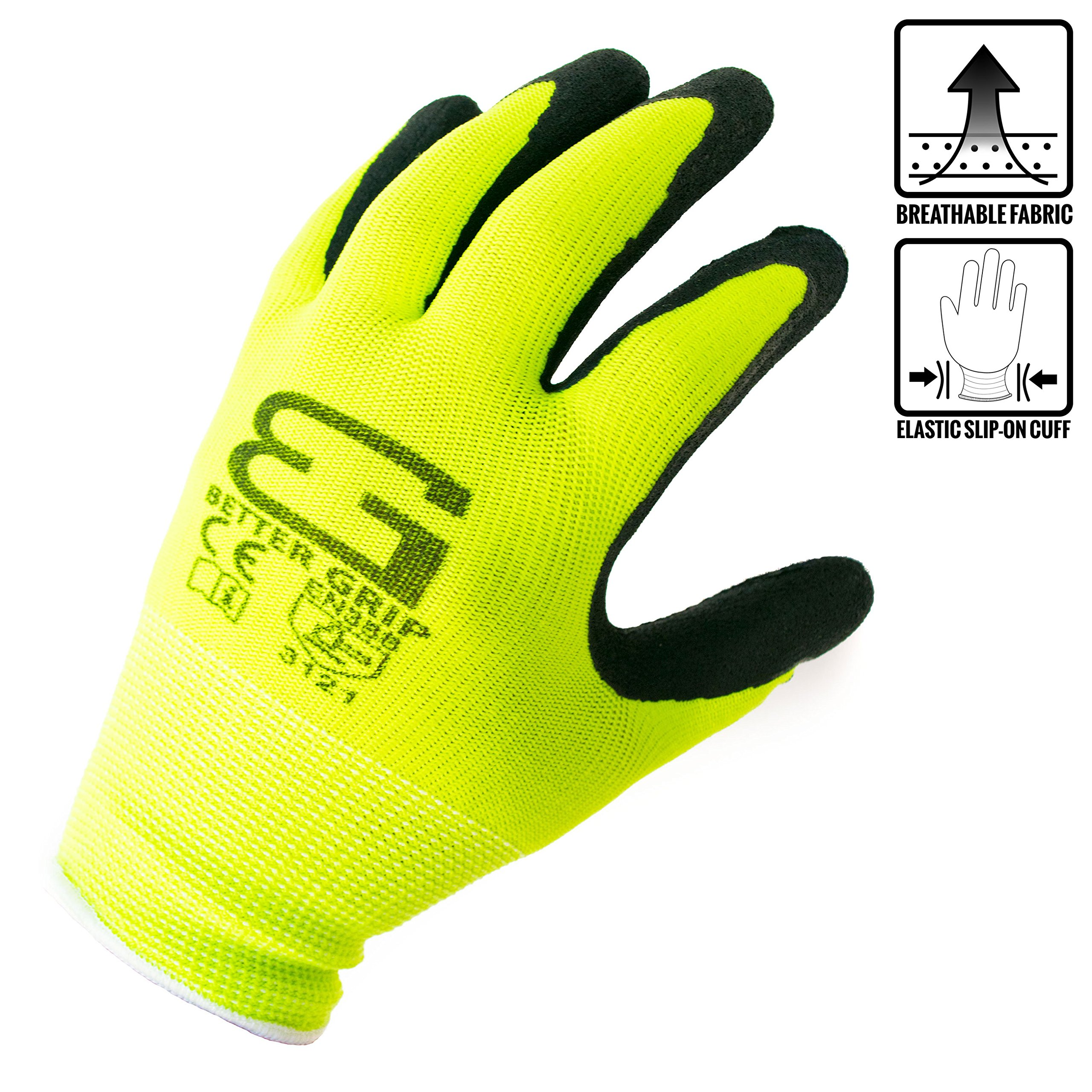 (Box Deal) BGS-LM-8M-CS, Better Grip Nylon Sandy Latex Coated Work Gloves, 144 Pairs/CS (Medium, Hi-Vis Lime) by Better Grip
