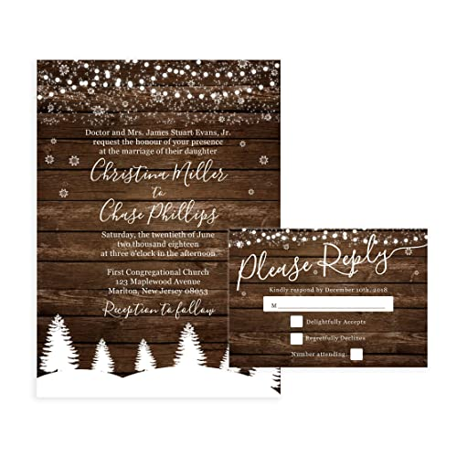 Amazon rustic winter wedding invitations and self mailing rsvp rustic winter wedding invitations and self mailing rsvp cards includes envelopes for set country filmwisefo
