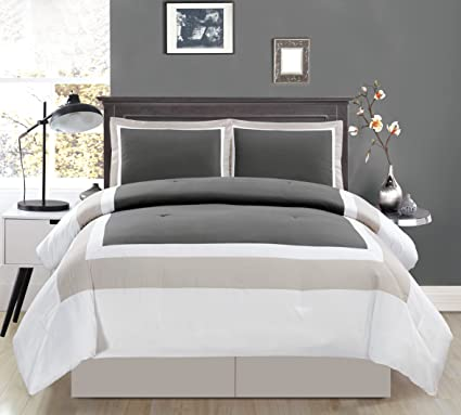 Amazoncom 4 Piece Full Size Double Bed Dark Grey Light Grey