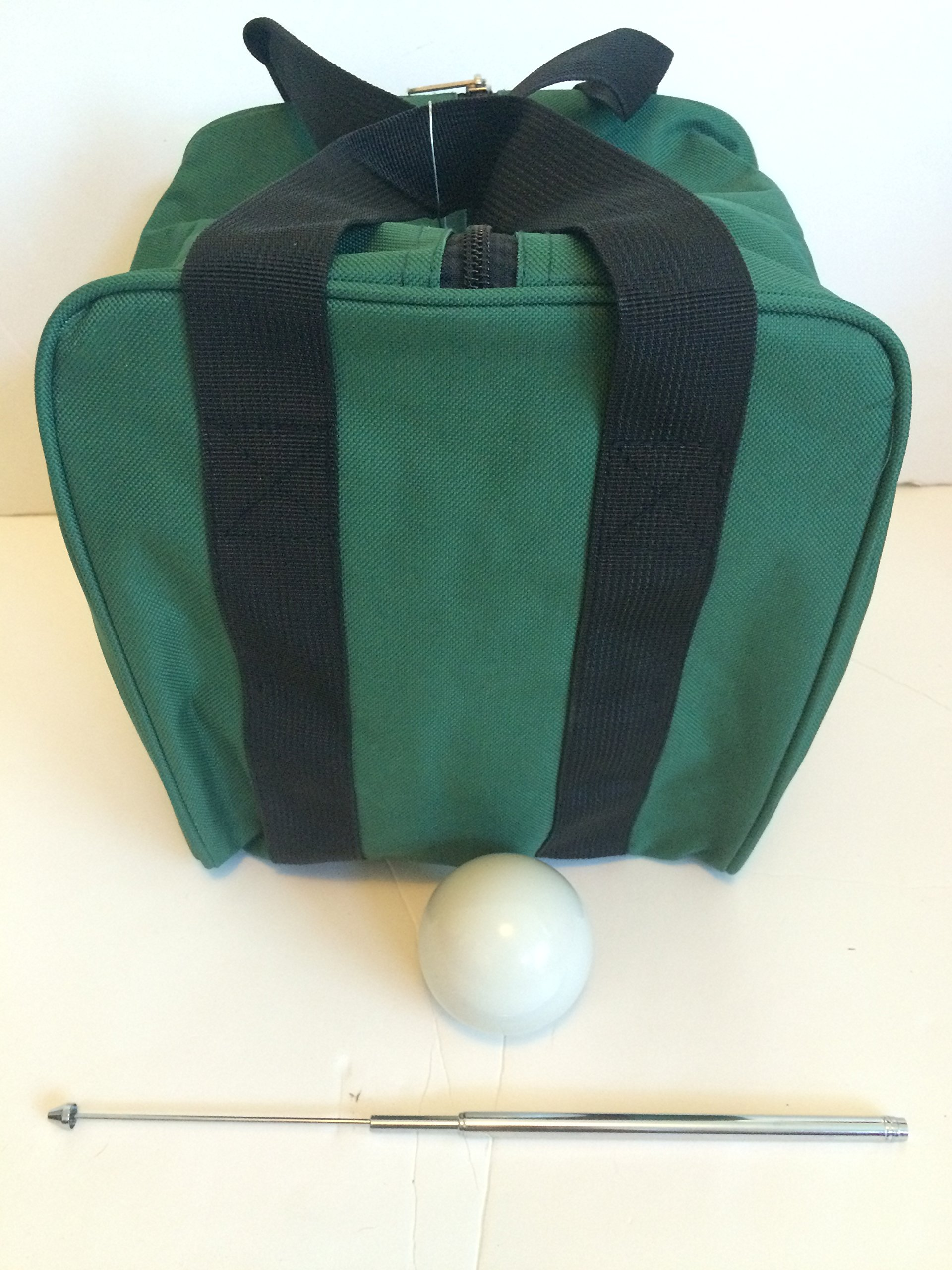 Unique Bocce Accessories Package - Extra Heavy Duty Nylon Bocce Bag (Green with Black Handles), White pallina, Extendable Measuring Device