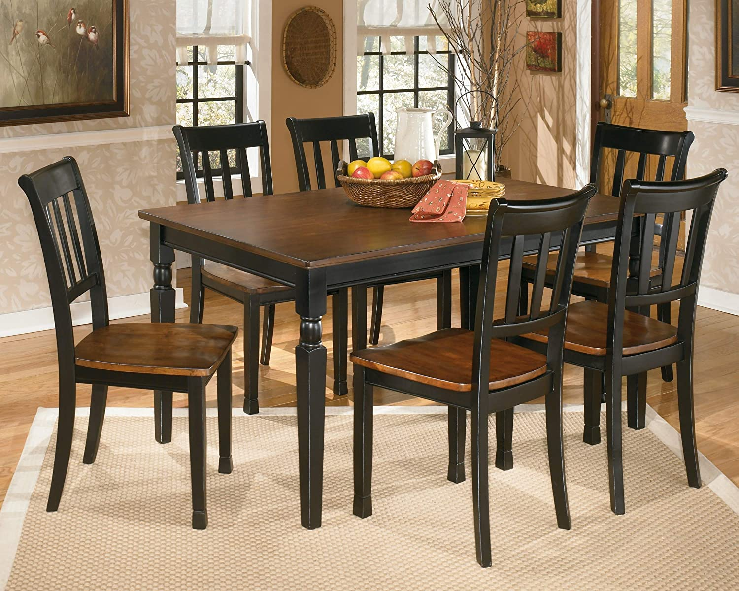 Pack of 4 Signature Design by Ashley Owingsville Dining Room Side Chair Set .Black;Brown