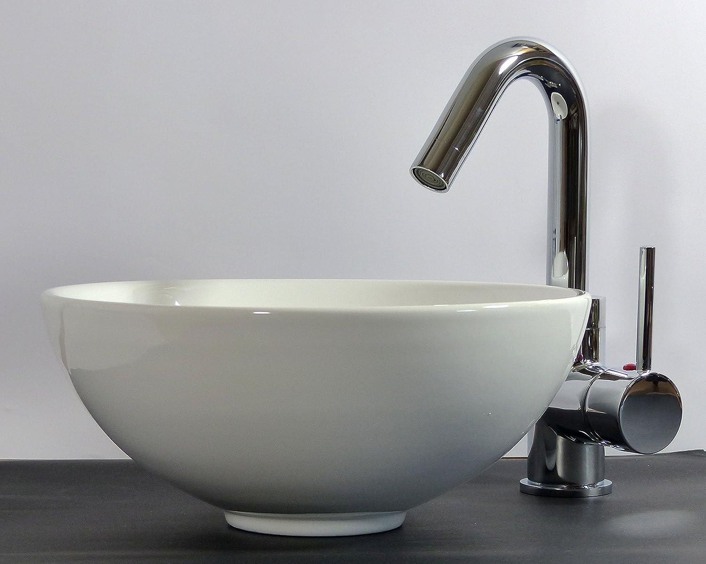 Kleines Keramik Aufsatz Waschbecken rund 28cm G/äste-Bad