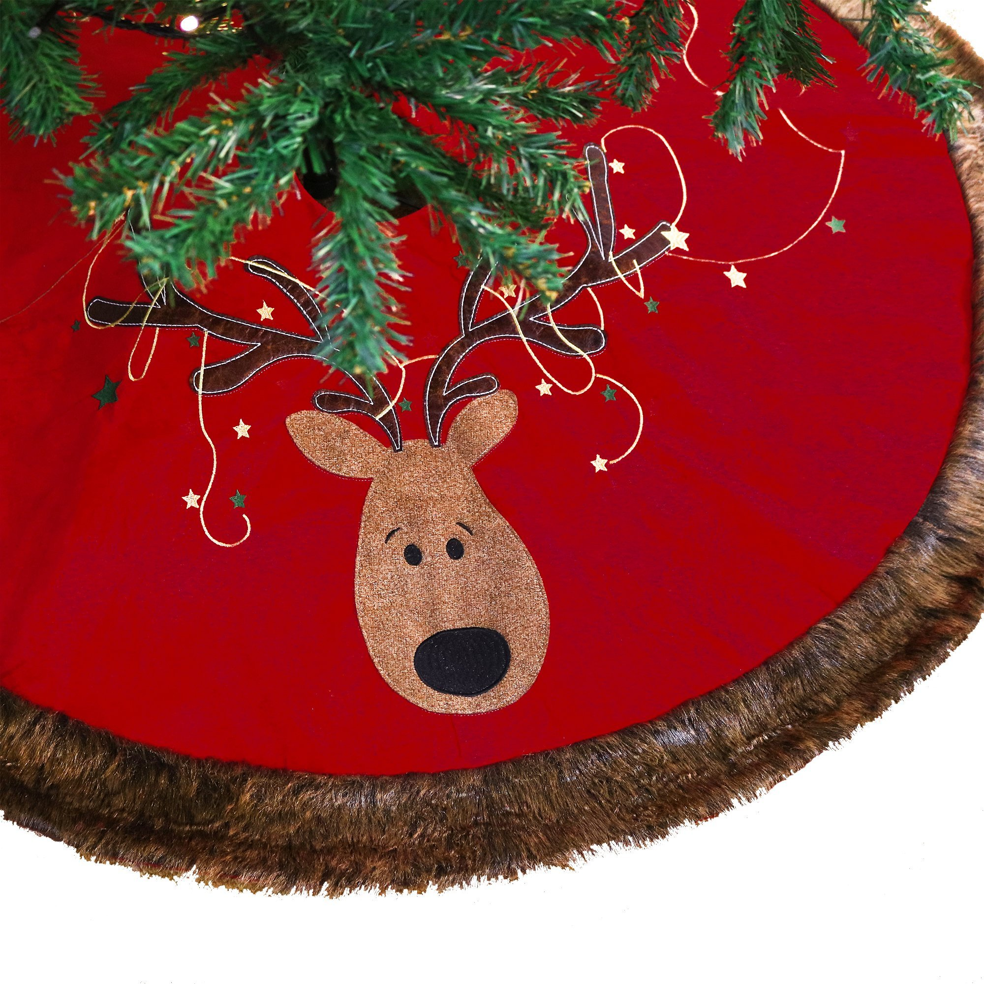 V&M VALERY MADELYN 48'' TREE SKIRT-RED, GREEN&GOLD DEER