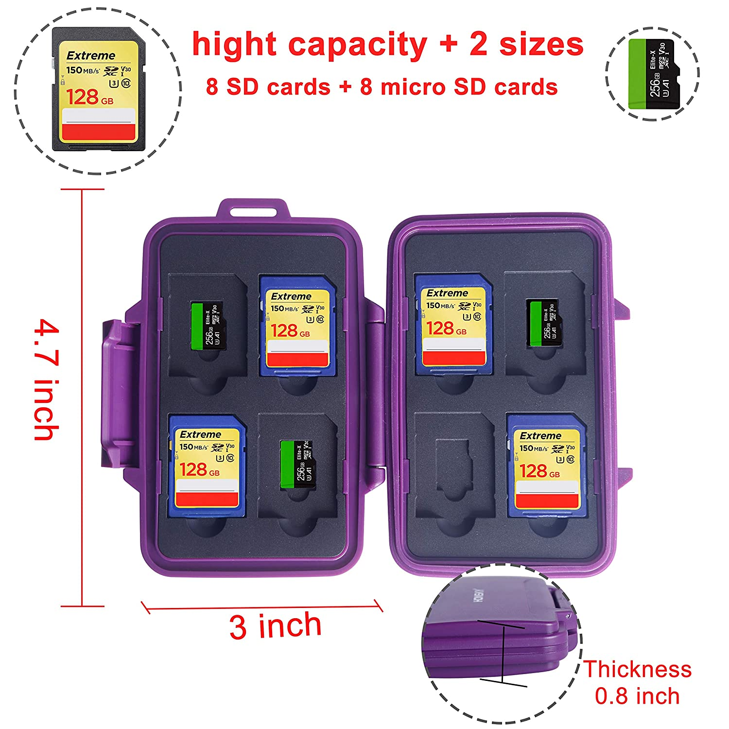 SDHC SDXC Honsky Waterproof Memory Card Holder Case for SD Cards Blue SD Card Holder Micro SD Cards