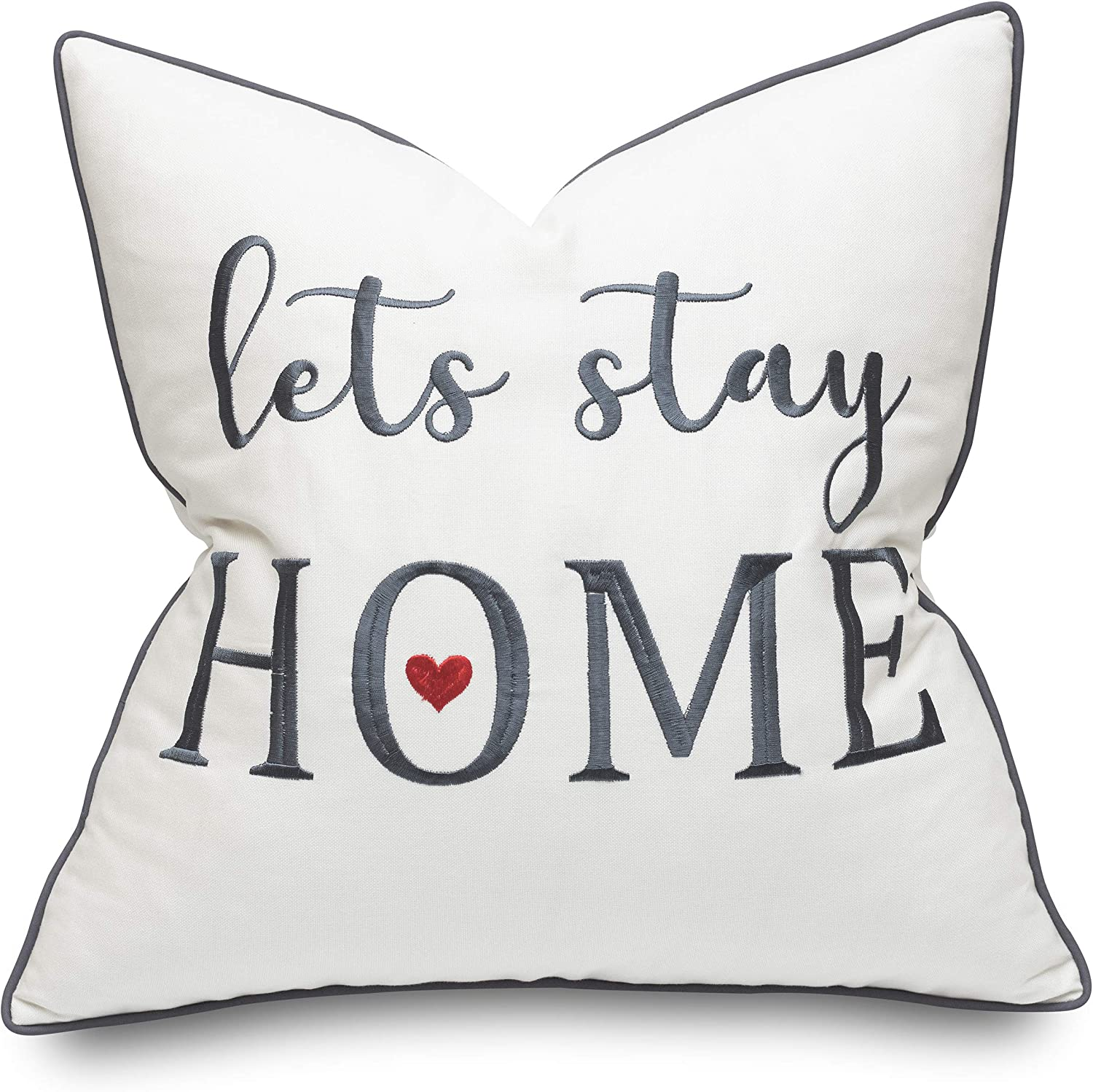 Rudransha Lets Stay Home 18x18 Embroidered Square Accent Throw Pillow Cover - Ivory