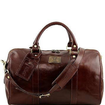 Tuscany Leather - Sac de voyage en cuir avec poche à l'arrière - Marron NZC4MrA