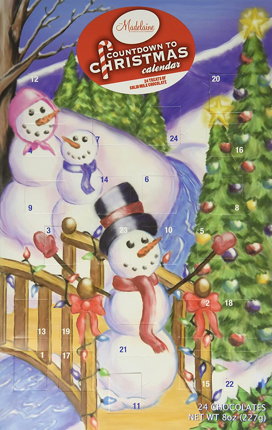 Madelaine Chocolate Christmas by the Creek Countdown Advent Calender 24 Chocolates Net WT 8 oz
