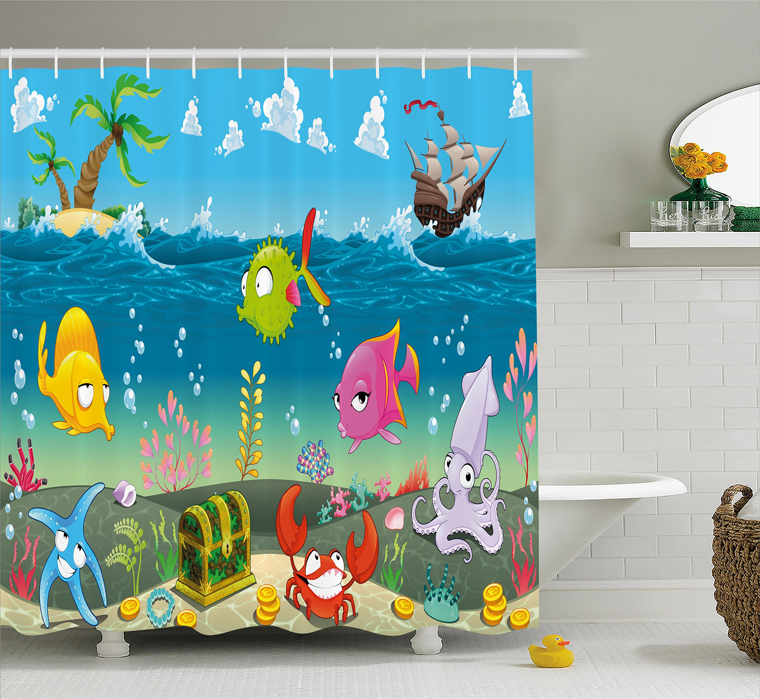 Ambesonne Kids Shower Curtain by, Funny Sea Animals Underwater Ocean View with Sail Boat Palm Trees Cartoon Artwork, Fabric Bathroom Decor Set with Hooks, 70 Inches, Multicolor