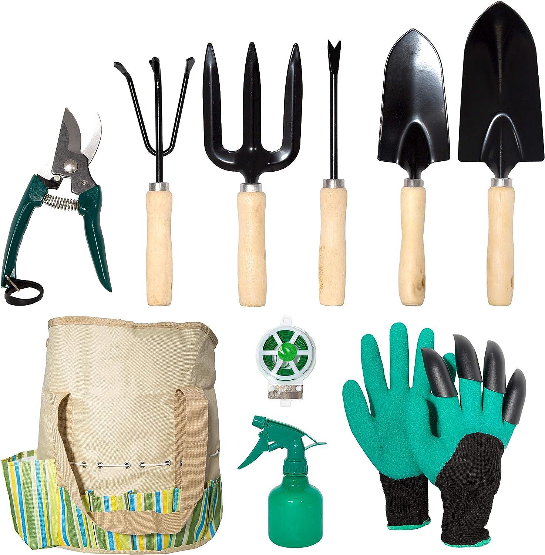 lyndeluxe Herramienta de jardín 10Pcs, Kit de jardinería con Bolsa de Almacenamiento, Herramientas de plantación Masculinas/Femeninas de Alta Resistencia