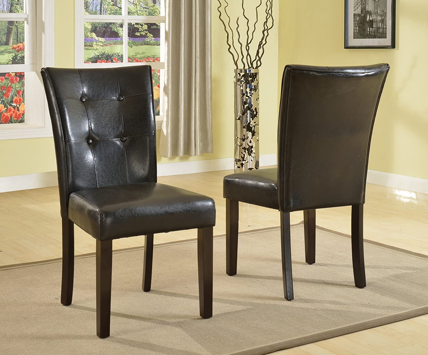 Amazon.com - Roundhill Furniture Blended Leather Parson Dining Side ...