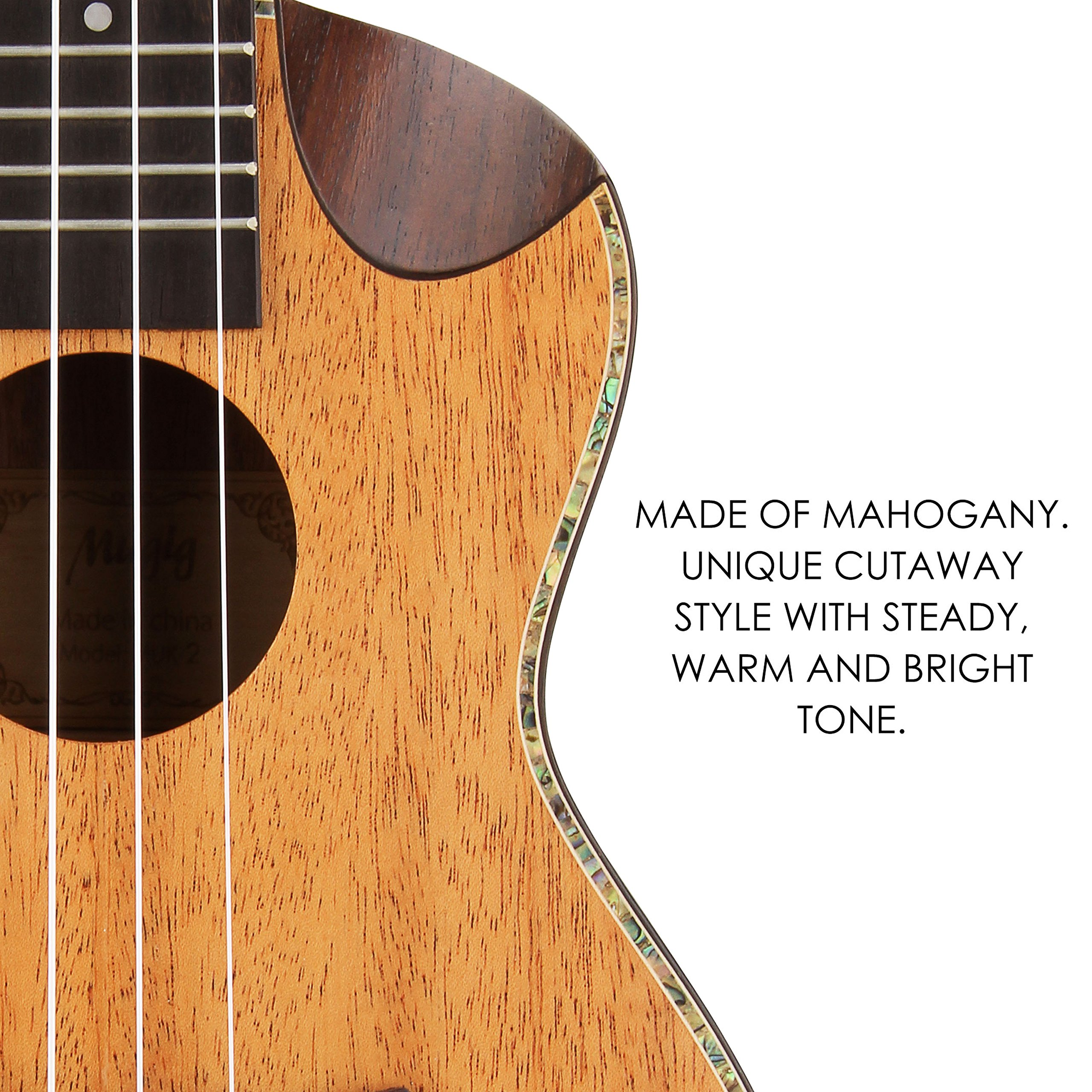 Mugig Soprano Ukulele Mahogany Body Rosewood Fingerboard Cutaway Design 4 Strings Instrument Italian Aquila Nylon Strings with carrying bag(21 inch)