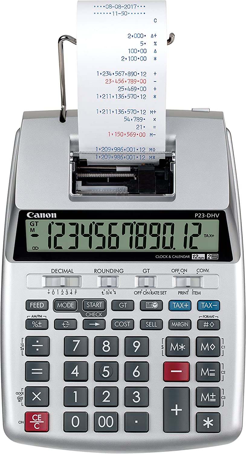 Canon P23-DHV-3 Printing Calculator with Double Check Function, Tax Calculation and Currency Conversion