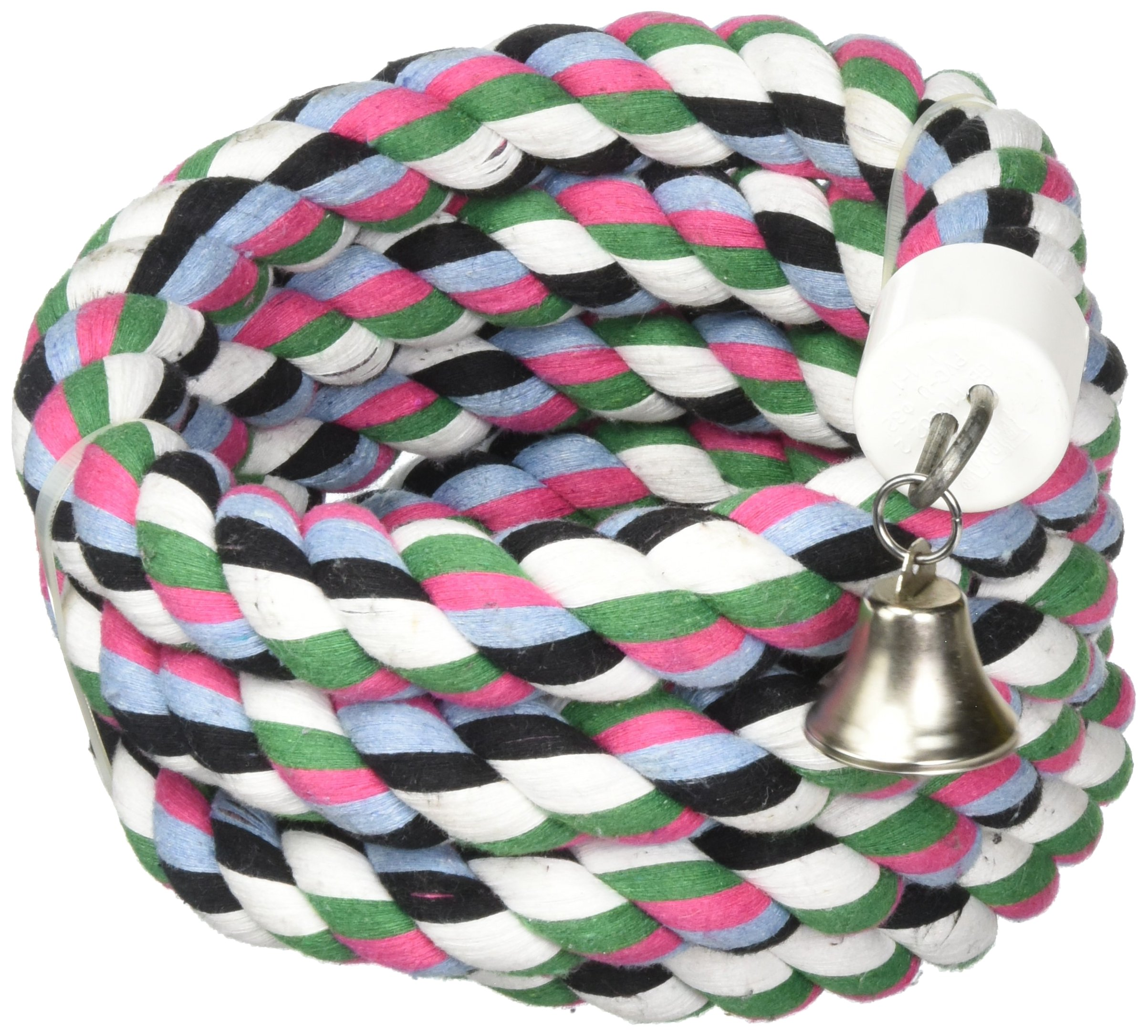 A&E CAGE COMPANY 001348 Happy Beaks Cotton Rope Boing with Bell Bird Toy Multi-Colored, 1.25X97 in by A&E CAGE COMPANY