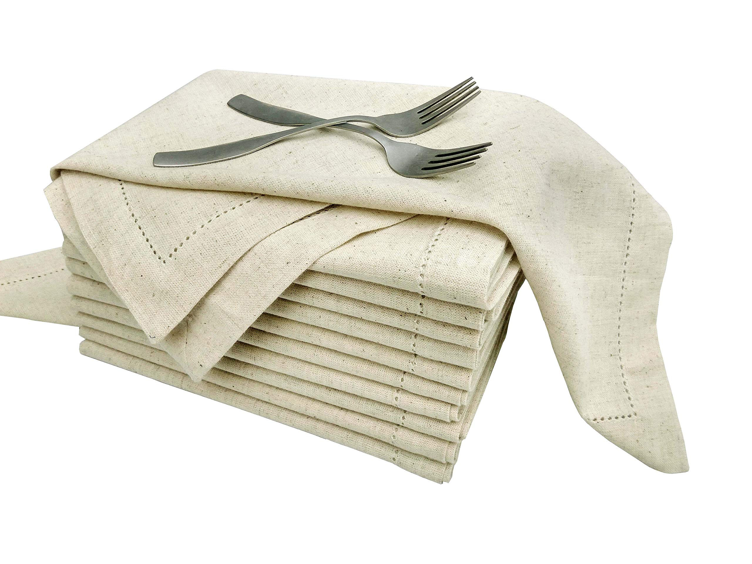 Flax by Flax (30%Linen,70% cotton) Unique Designer Premium Hemstitched Dinner Napkins 20x20, Natural Color With Rustic Linen Look Offered By Linen Clubs (SET of 12 PIECES)