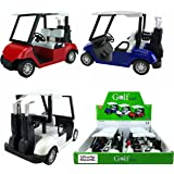 "6 Pack Bundle: 4½"" Die-cast Metal Golf Cart Model Toy Vehicle (Red/White/Blue)"