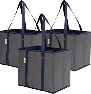 Premium 3 Pack Reusable Grocery Shopping Box Bags | Large, Sturdy, Durable Tote Bag Set for Groceries, Trunk Organizer and Home Storage | Foldable with Stylish Design and Colors (Grey/Navy)