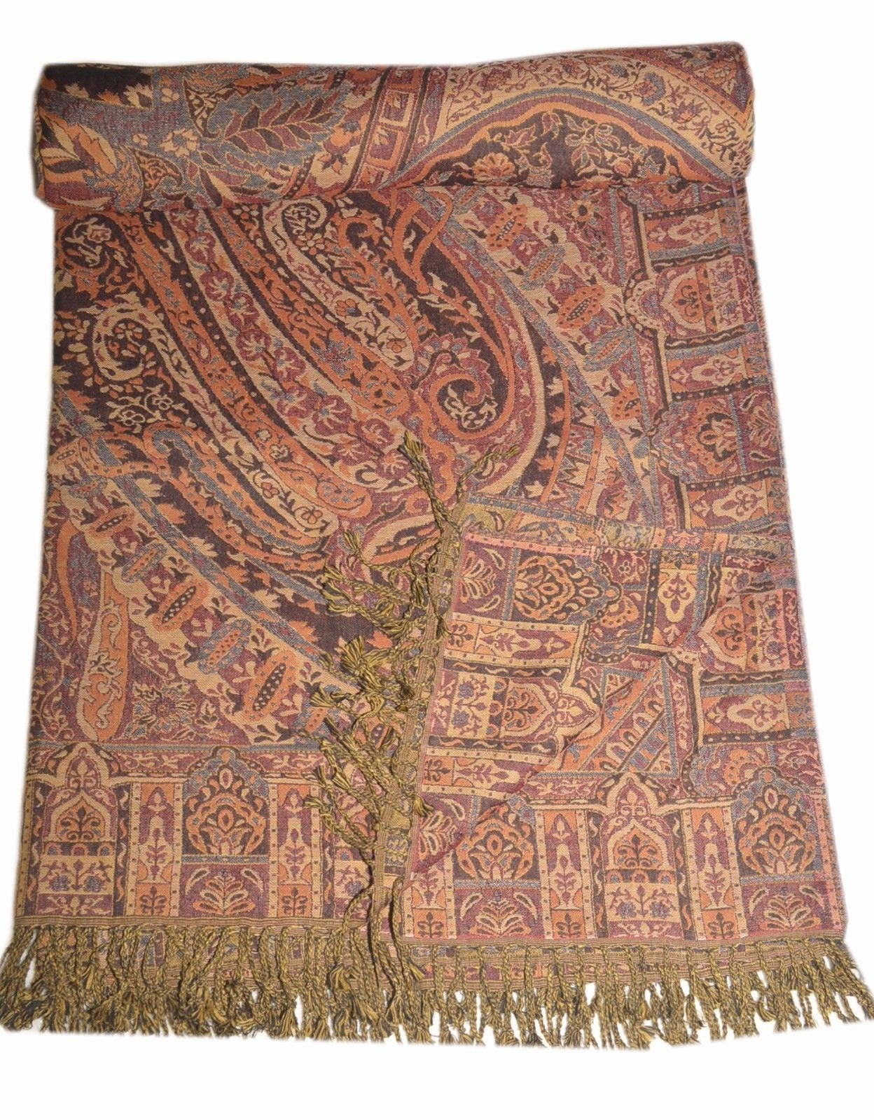 Blanket Throw Reversible Pashmina Bedspreads Queen Size Indian SL853