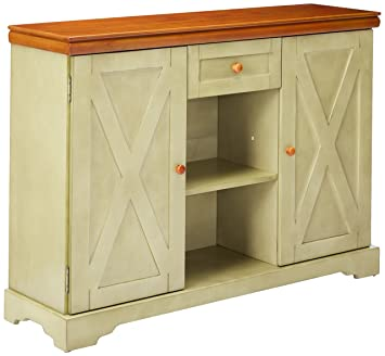 Exceptional Kings Brand Furniture Wood Buffet Cabinet Console Table, Antique White /Walnut