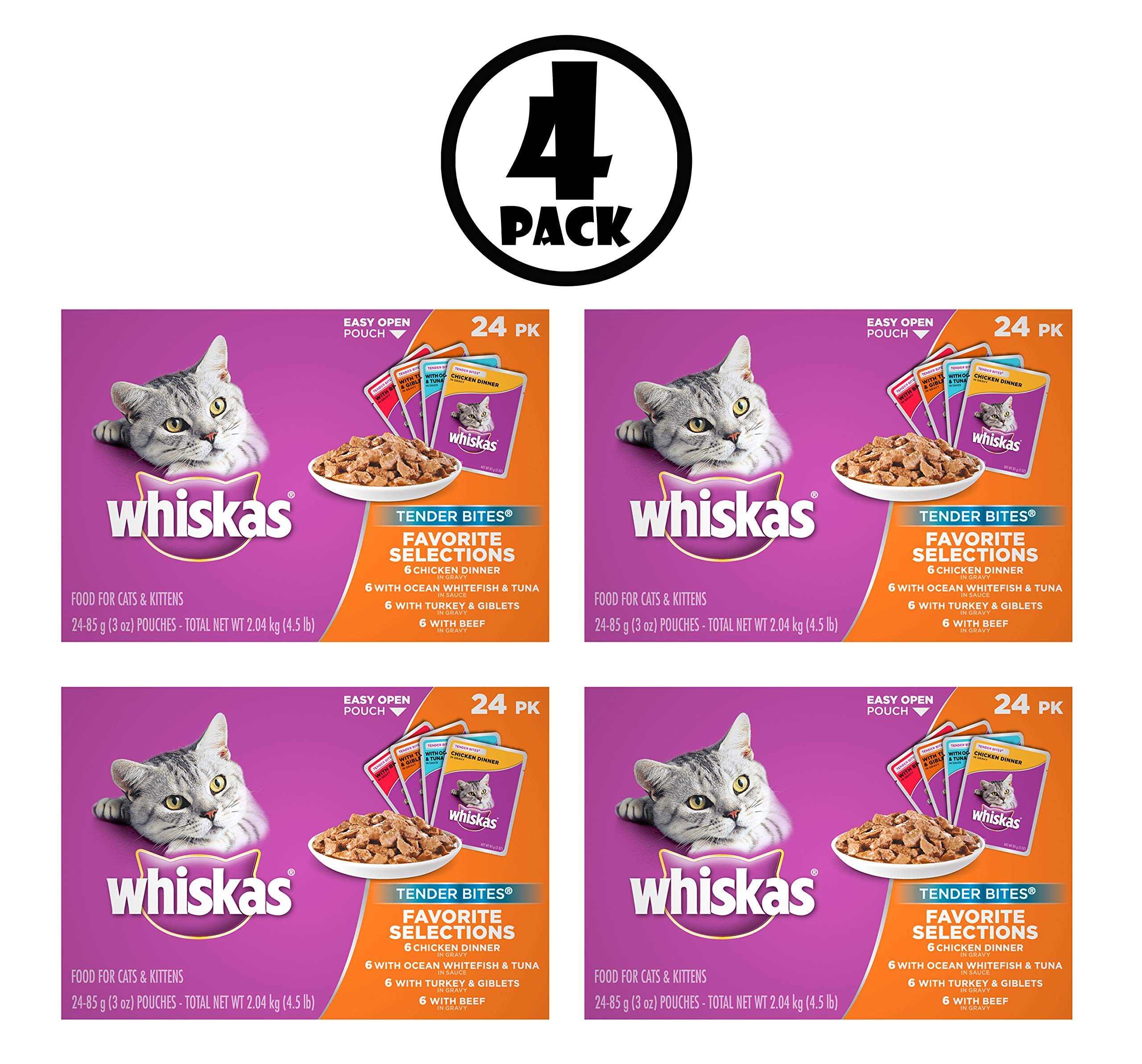 Whiskas Tender Bites Favorite Selections Variety Pack Wet Cat Food, (24) 3 oz. Pouches, Pack of 4 by Whiskas