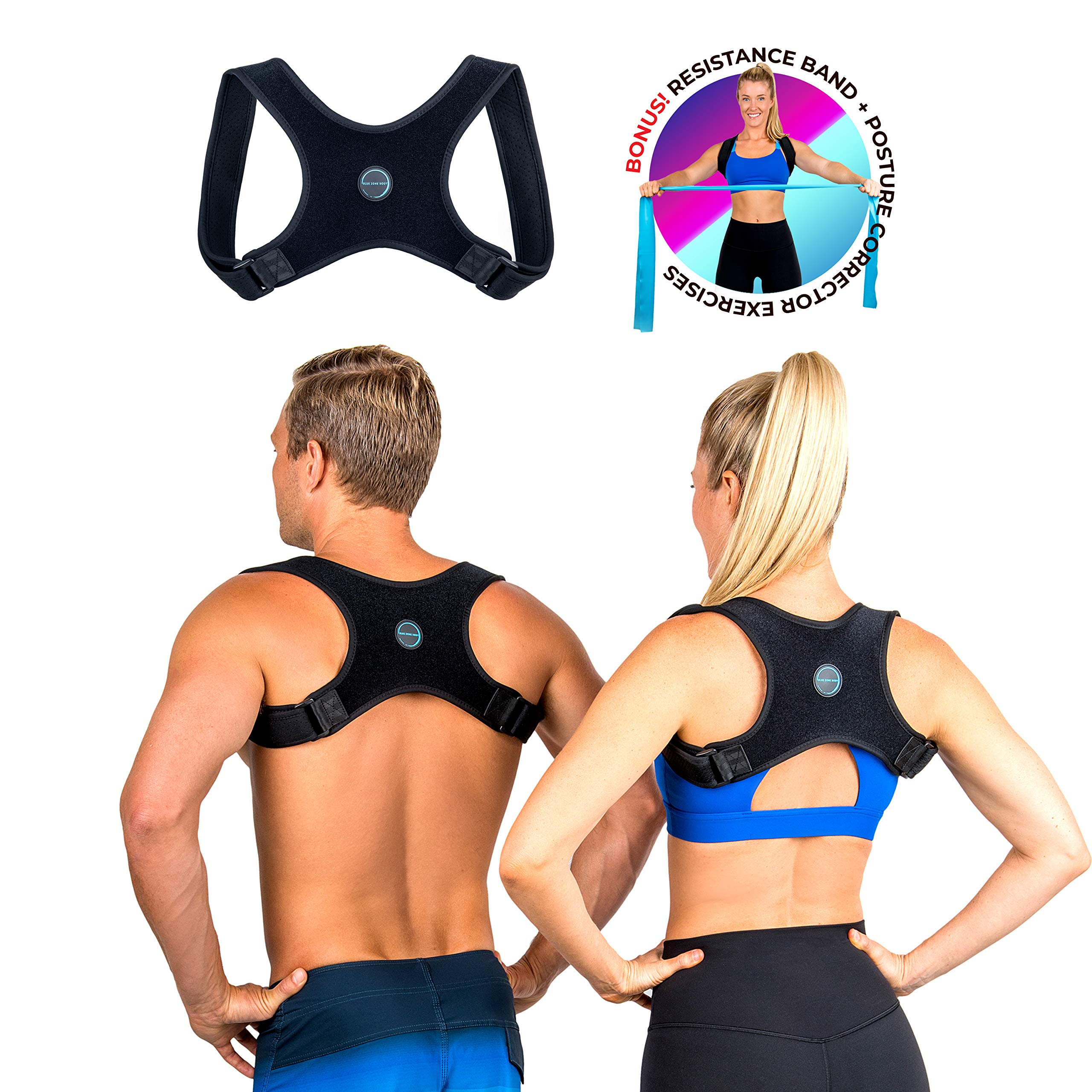 Posture Corrector for Men and Women- FDA Approved Fully Adjustable and Lightweight Back Brace for Neck, Shoulder & Back Pain Relief- Best Slouching Corrector for Improved Posture (One Size) by Blue Zone Body