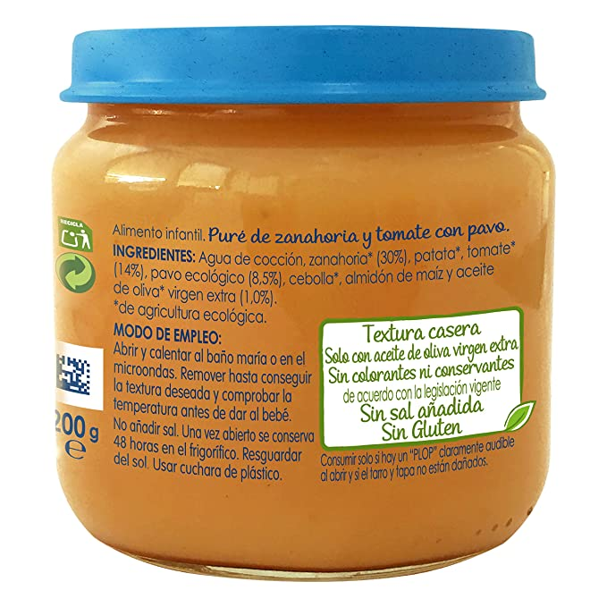 Nestlé Naturnes Bio - Puré de Zanahoria y Tomate con Pavo - Puré Para bebés - 6x200g: Amazon.es: Alimentación y bebidas