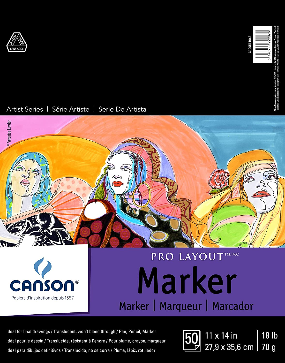 18 Pound Semi-Translucent for Pen 9 x 12 Inch Fold Over 50 Sheets White Pencil and Marker Canson Artist Series Pro Layout Marker Pad