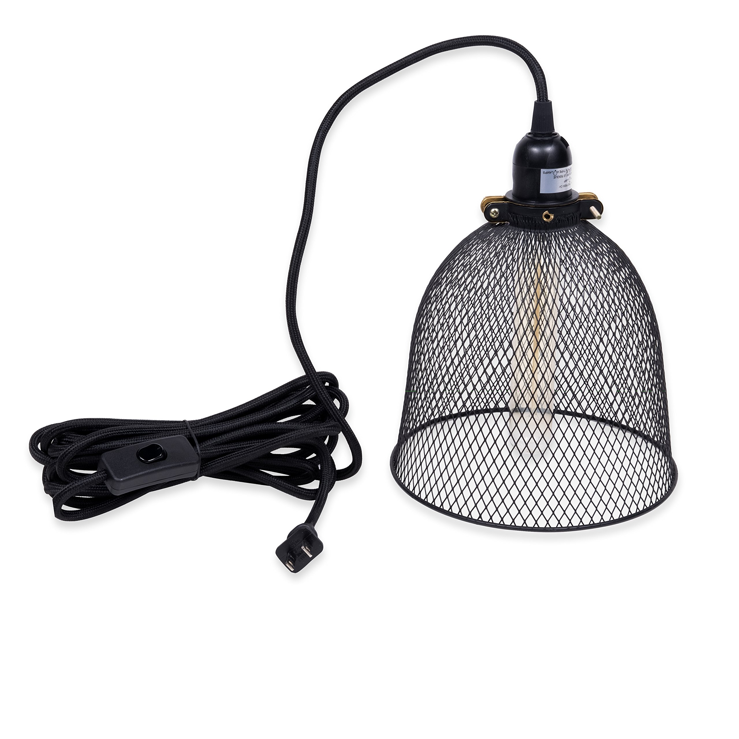 1-Light Portable Hanging Plug-In Pendant Black Shade Swag