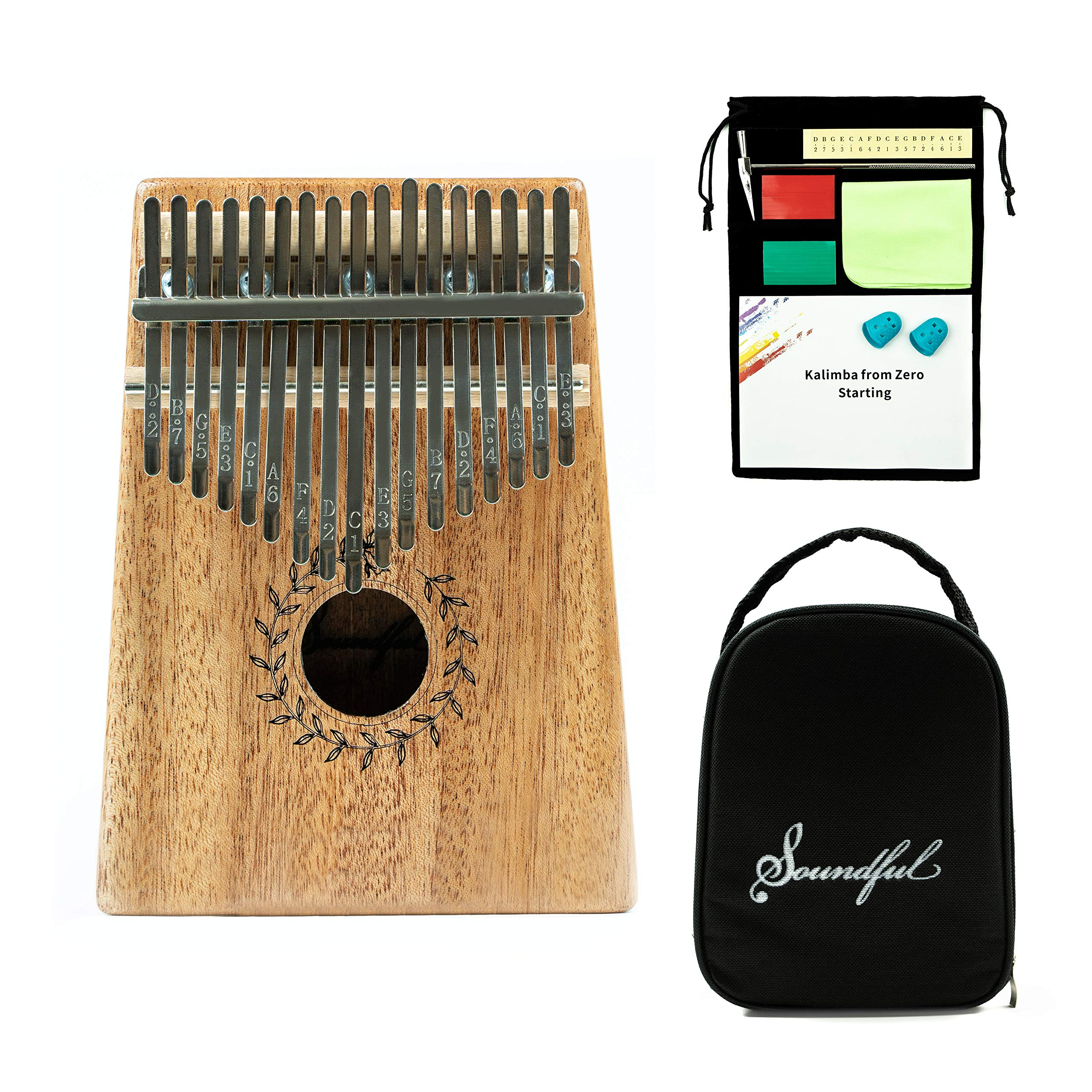 Soundful 17 Key Kalimba Thumb Piano, Solid Mahogany Body Finger Piano, Professional Mbira Musical Instrument with Tuning Hammer and Protective Case