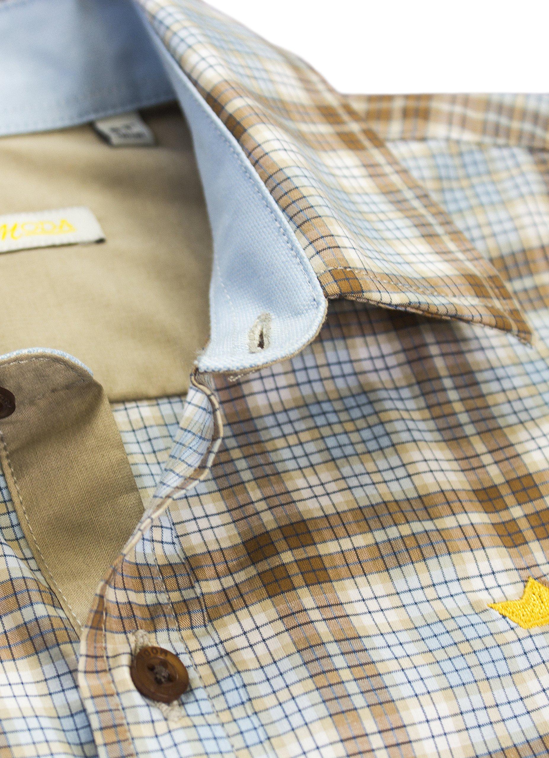 Dakomoda Toddler Boys' Short Sleeve Easter Shirt Brown Plaid Check 100% Pima Cotton Dress Shirt 3T by Dakomoda (Image #2)