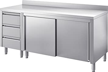 Outdoor Küche Edelstahl Schubladen : Gam gastro edelstahl arbeitstisch tisch 150 cm breit schiebetüren