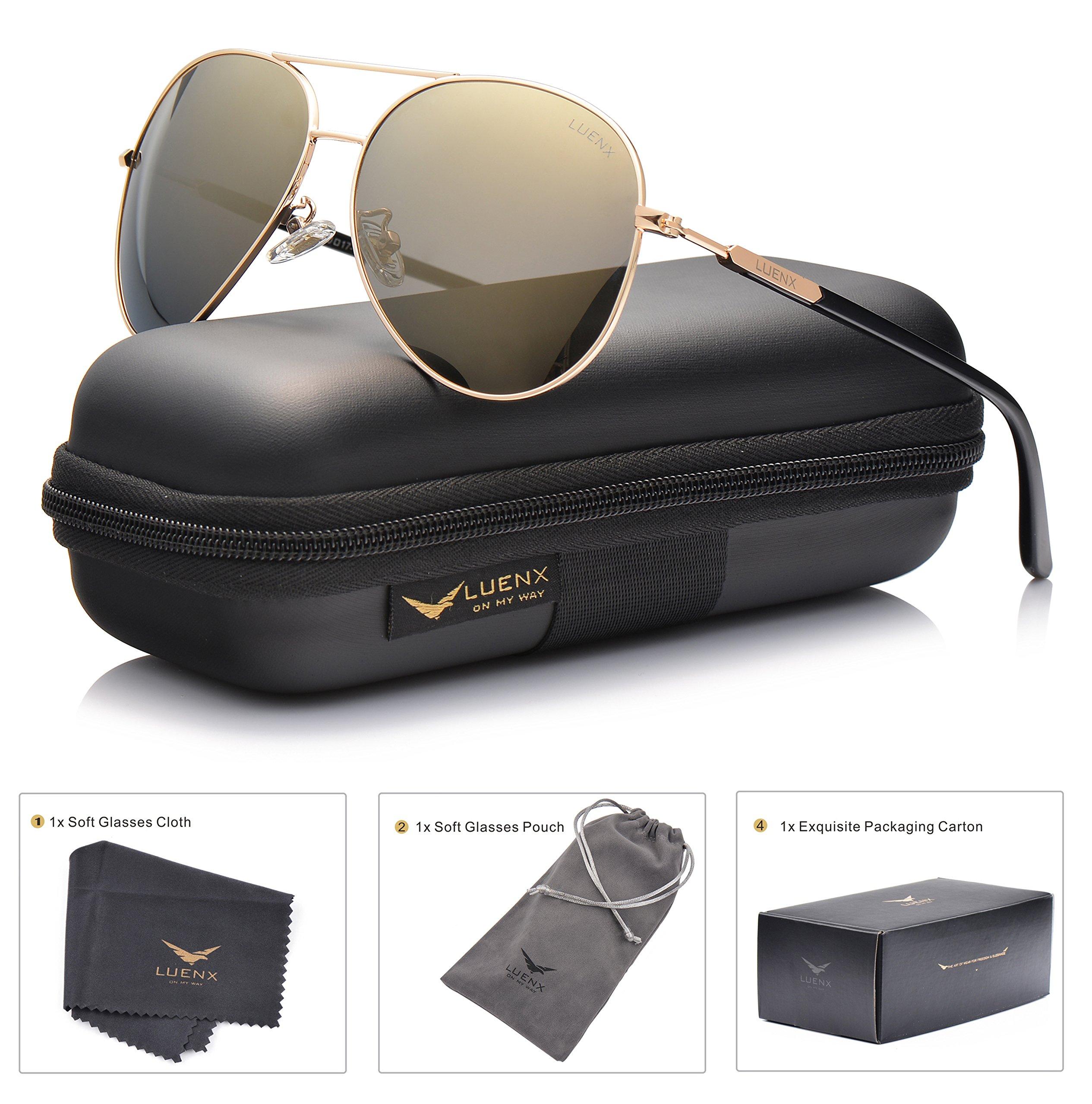 LUENX Aviator Sunglasses Women Men Polarized Mirrored Gold Lens Gold Metal Frame Large 60mm