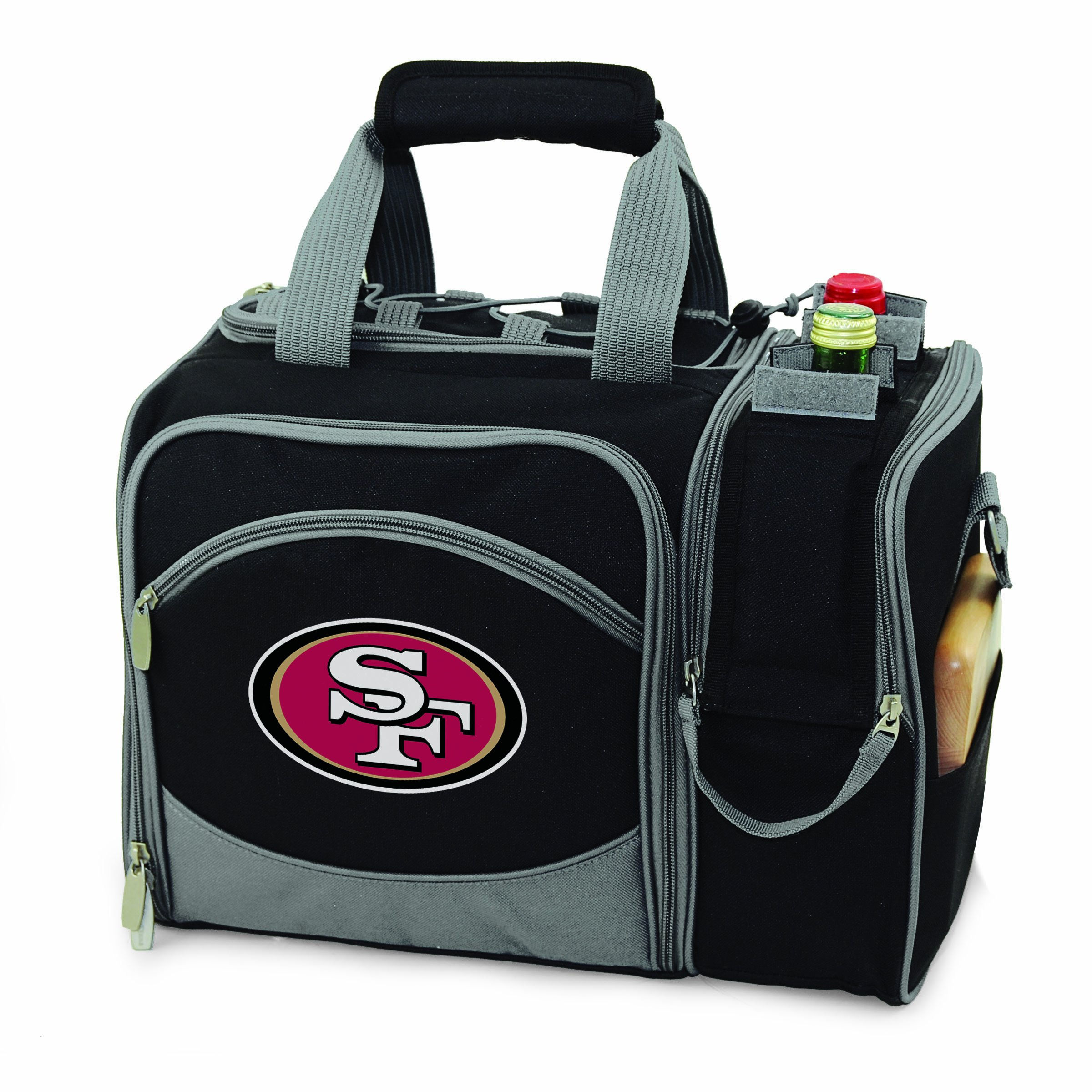 NFL San Francisco 49ers Malibu Insulated Shoulder Pack with Deluxe Picnic Service for Two