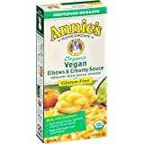 Annie's Organic Vegan Macaroni and Cheese, Elbows & Creamy Sauce, Gluten Free Pasta, 6 oz Box (Pack of 12)