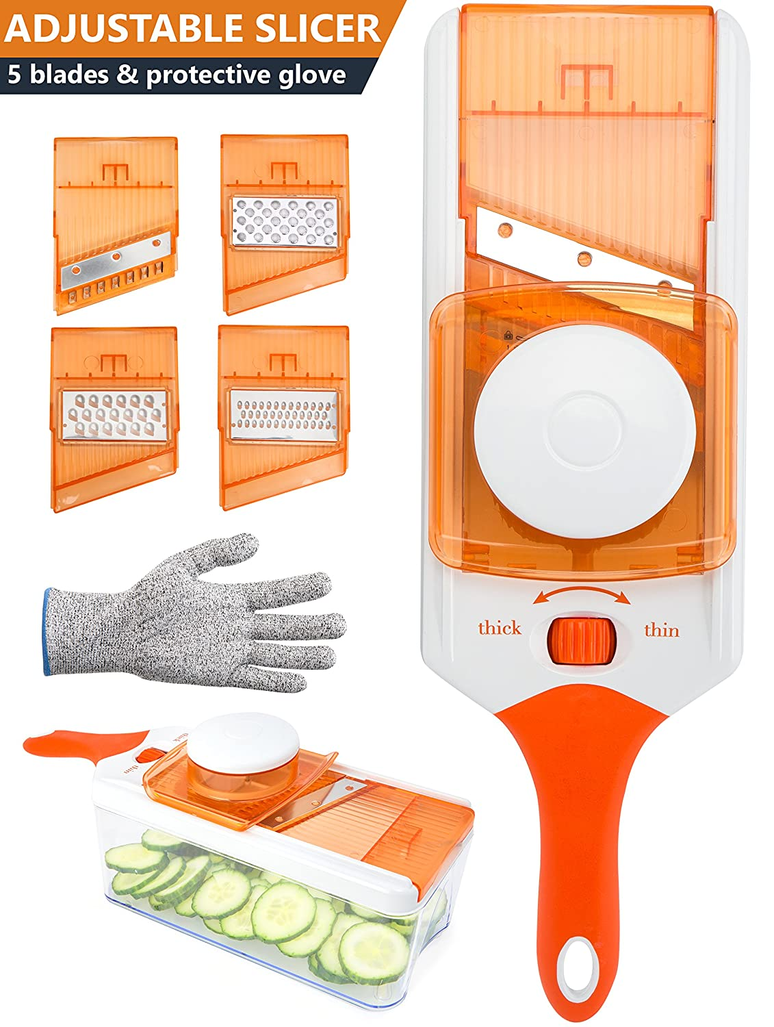Adjustable Mandoline Slicer - Vegetable Cutter, Peeler, Slicer, Grater & Julienne Slicer