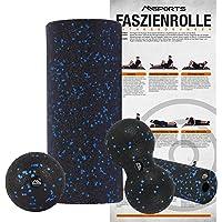 Faszienrolle + Massageball Premium inkl. Übungsposter   FASZIENSET - Professional Studio Qualität   Massagerolle Foamroller