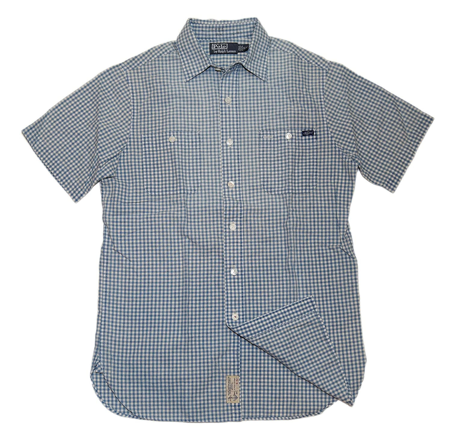Ralph Lauren Polo Mens Faded Washed Gingham Short Sleeve Blue Dress