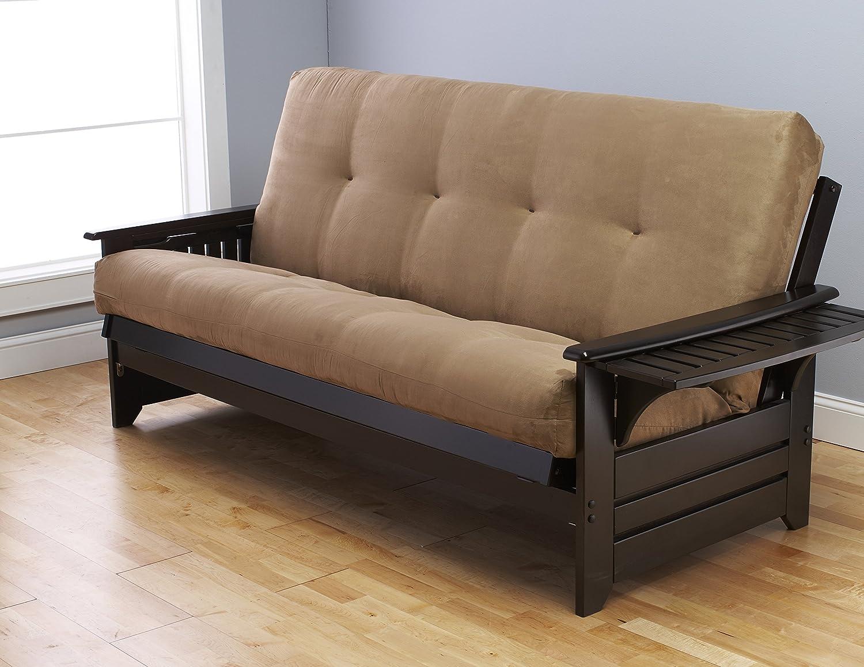 Full Size Phoenix Espresso Frame w 7 Inch Mattress Microfiber Suede Futon Set Wood Sofa Bed Peat Matt, Frame Only Full Size