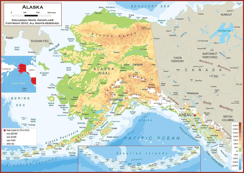 Amazon.com : Academia Maps - Alaska State Wall Map - Fully Laminated ...
