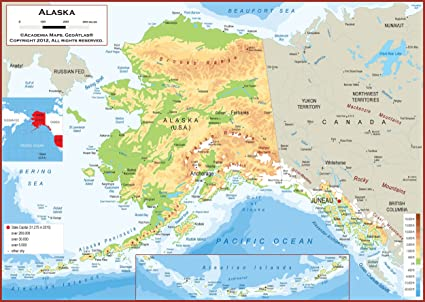 Amazon.com : 54 x 39 Large Alaska State Wall Map Poster with ...