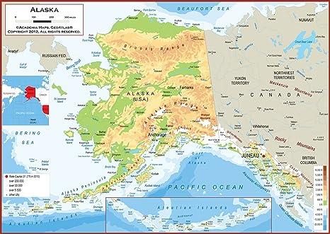 Amazon.com : 36 x 25 Alaska State Wall Map Poster with ...
