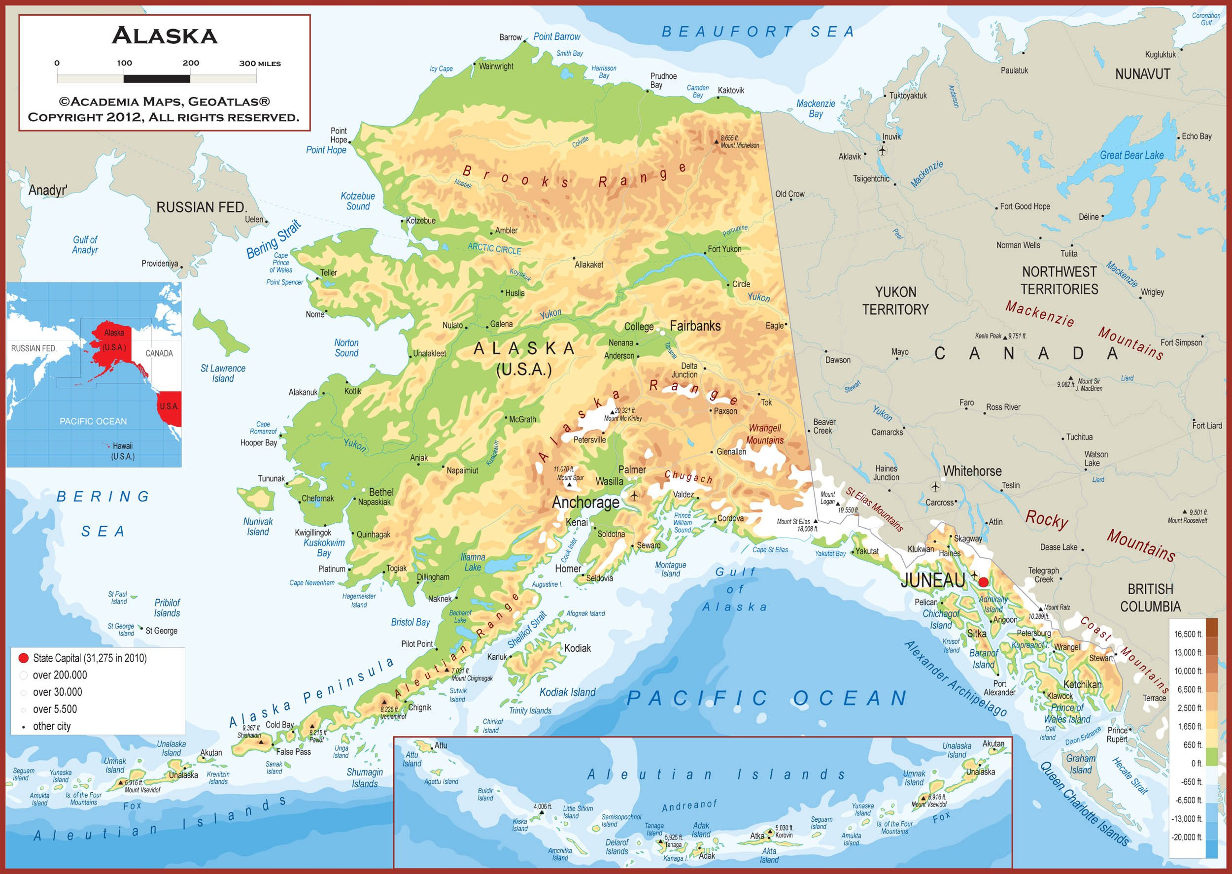 60 x 42 Giant Alaska State Wall Map Poster with Topography - Classroom Style Map with Durable Lamination - Safe for Use with Wet/Dry Erase Marker - Brass Eyelets for Enhanced Durability