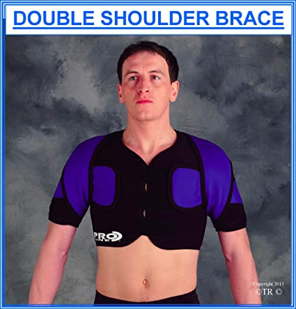 XL Double Shoulder Support Brace Neoprene Sports Pain Relief Wrap Protector L