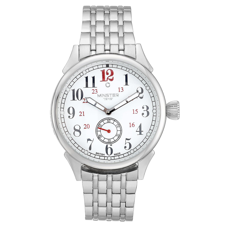 BOYLAND Armbanduhr Weiß Zifferblatt Silber Edelstahl Strap | British Made | MÜnster 1949