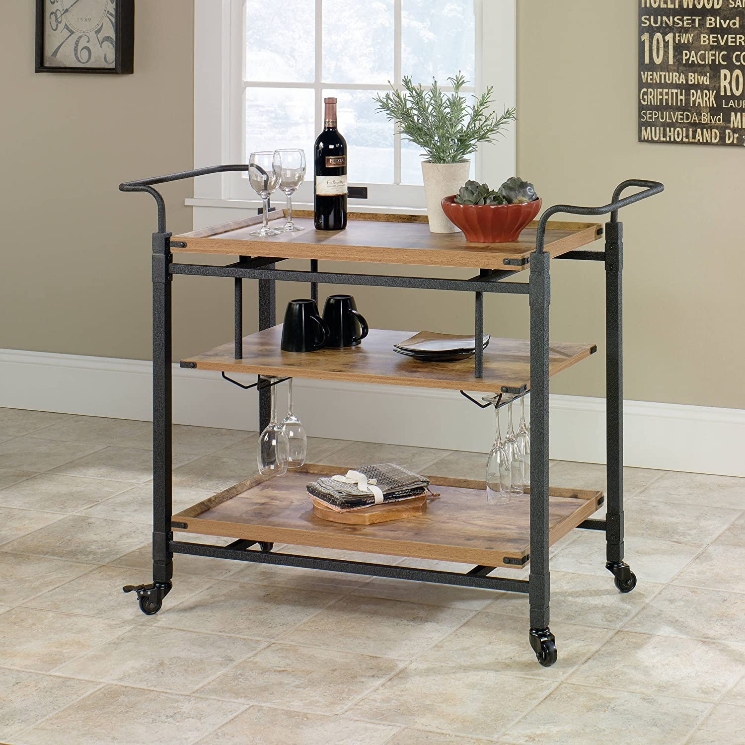 Amazon Rustic Country Bar Cart Antiqued Black Pine By