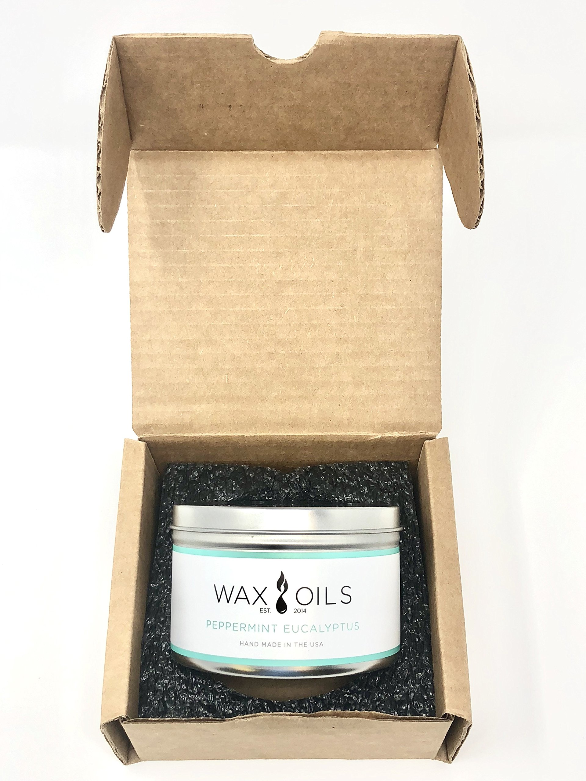 Wax and Oils Soy Wax Aromatherapy Scented Candles (Peppermint) 16 Oz. - PEPPERMINT EUCALYPTUS 16oz - Just inhaling peppermint essential oil can help clear your head and your thoughts. Made by combining the essential oils, Cedarwood, Eucalyptus, Patchouli and Peppermint. It also known to clear up sinuses and help with coughs, this blend produces an effective solution to any of these discomforts. A sweet minty eucalyptus, pleasing and soothing. HANDMADE IN THE USA - with Soy Wax and Cotton Core Wicks. Each candle is hand poured with only premiumWax & Oils.Our candles are 100% Soy based.They do not contain paraffin, petroleum, animal or beeswax products. ECO-FRIENDLY - Wax & Oil candles are free from any harmful chemicals or additives. They contain NO pesticides, NO herbicides, and NO genetically modified materials. Our Packaging is 100% recyclable and the foam inserts are made from 65% recycled ingredients. - living-room-decor, living-room, candles - 91w1exPkRsL -
