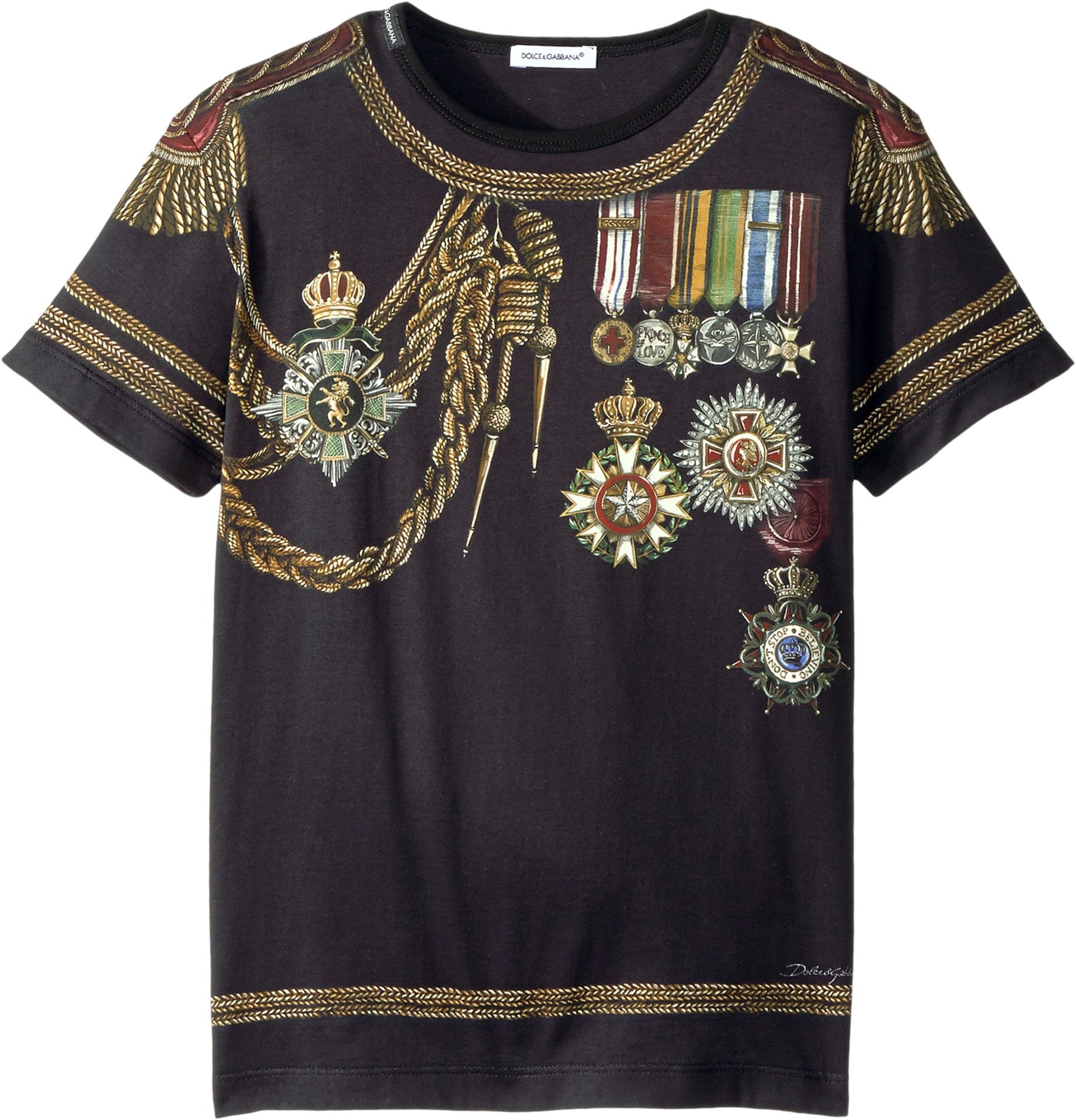 Dolce & Gabbana Kids  Boy's Medallion T-Shirt (Big Kids) Black 8 by Dolce & Gabbana